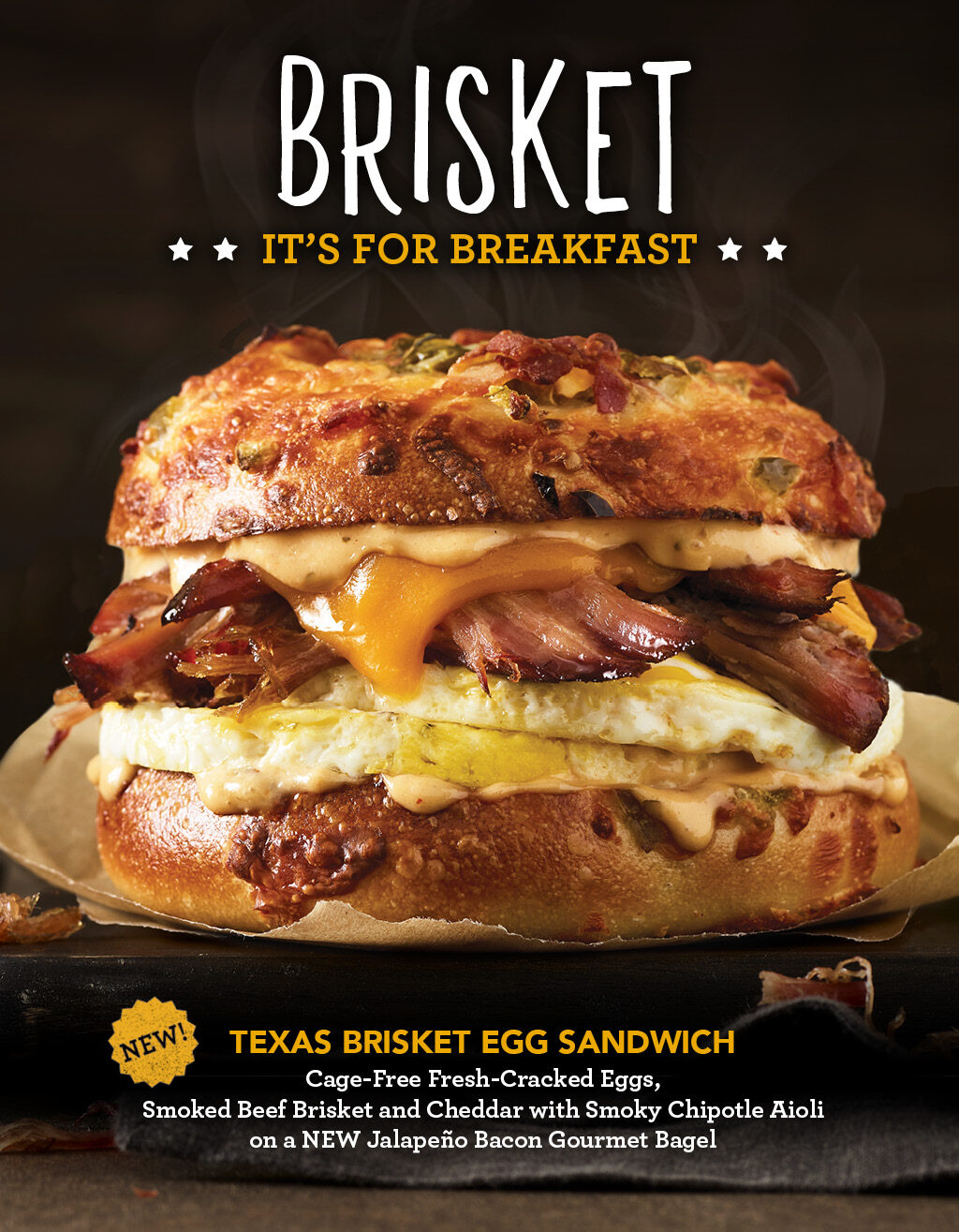 Try our new Texas Brisket Egg Sandwich. Click to View Menu
