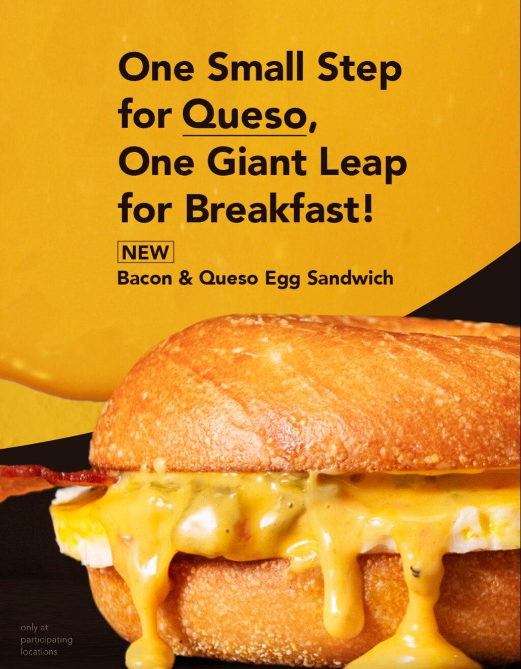 Bacon and Queso Egg Sandwich Einstein Bros. Bagels Mobile Slider
