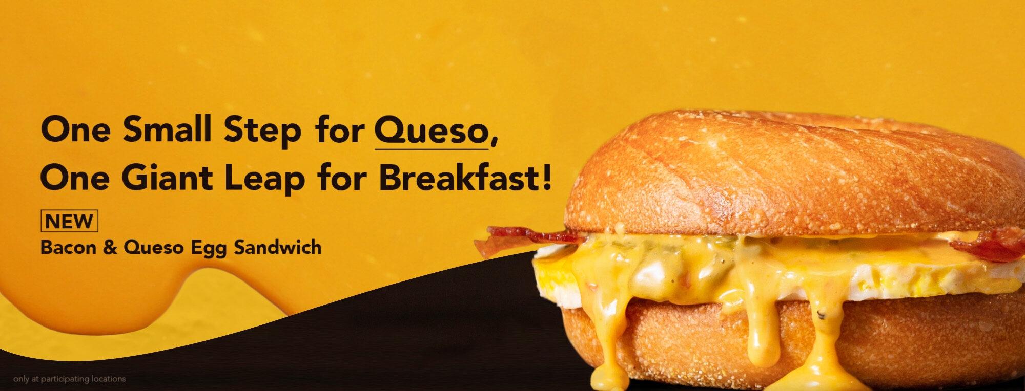 Bacon and Queso Egg Sandwich Einstein Bros. Bagels Web Slider