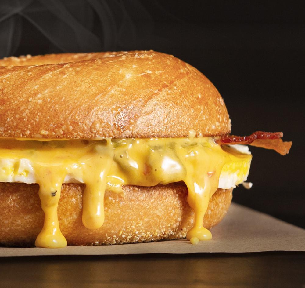 Einstein Bros. Bagels Bacon and Queso Egg Sandwich